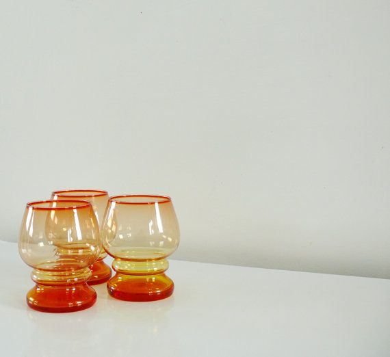 Bicolor set of three glasses by Zbigniew #Horbowy / 60s / 70s on Etsy, 144,56 zł