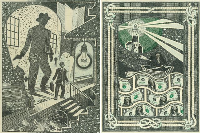 I Need A Dollar - Dollar bills, a blade and glue is all Mark Wagner needs to create his intricate collages. The precision he's able to accomplish by utilizing every facet of paper currency is incredible.