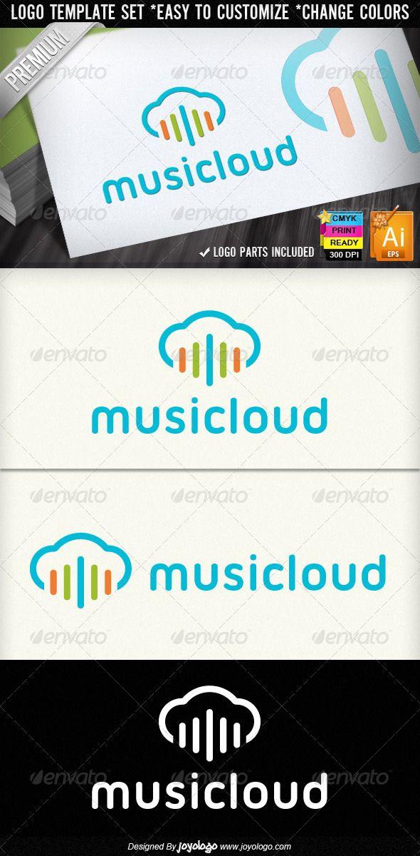 Colorful Sound Wave Music Cloud Logo Designs - Symbols Logo Templates