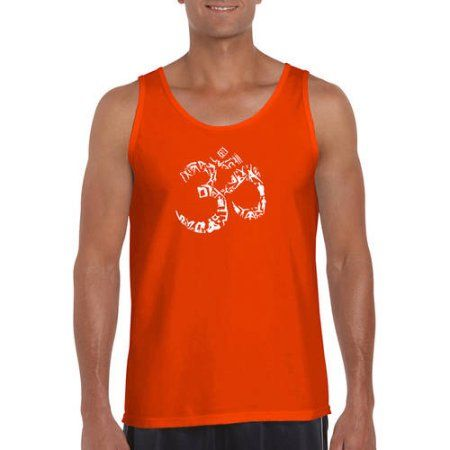 Los Angeles Pop Art Men's Tank Top - The Om Symbol Out Of Yoga Poses, Size: Medium, Orange