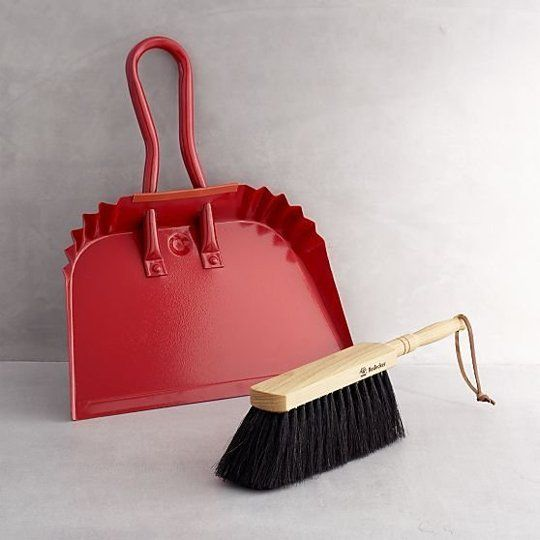 Red Dustpan and Redecker Natural Dustpan Brush from Crate and Barrel