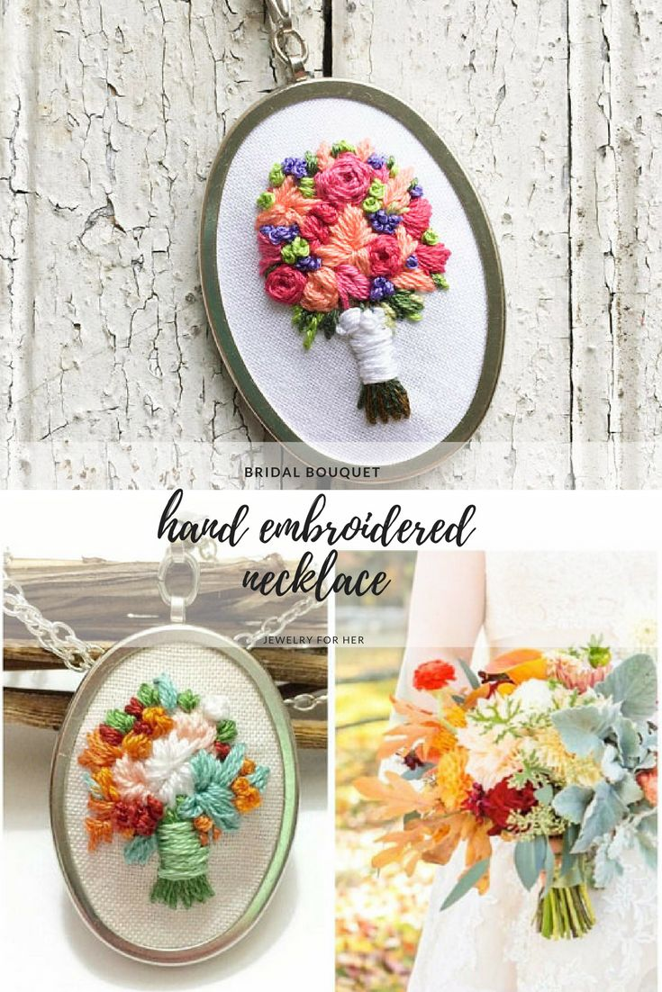 Have a special bouquet you want to keep forever? Have a bouquet of them made that will never wilt. Hand Embroidered Necklace Bridal bouquet Wedding Jewlery Embroidered Bouquet Custom embroidery Bridal necklace Jewelry for her. #embroidery #handembroidery #handmadejewelry #bridalbouquet #ad #christmasgifts