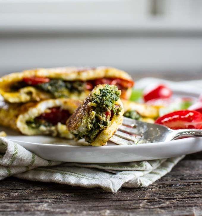 Pesto and Roasted Tomato Omelette