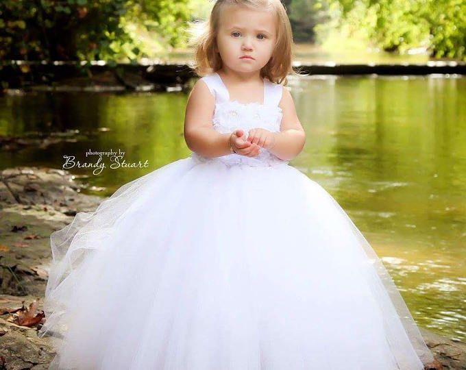 Blanco, vestido de Marfil shabby chic rosa niña de las flores más colores disponibles