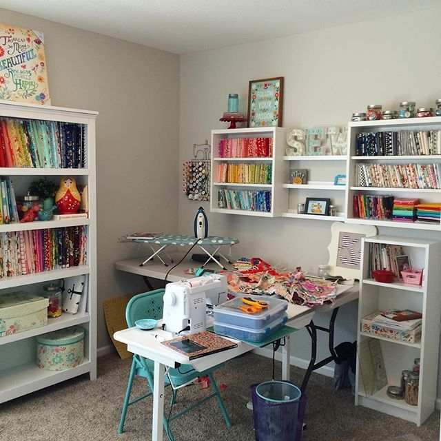 """Finally got around to setting things up in my new sewing room a few weeks ago... {please ignore the clutter} I feel so happy every time I set foot in this room. With a closet full of craft supplies for the kiddos and a little table just their size, we've already spent countless hours """"creating"""" together in here. Once I get things a little more finished in here, I'll take y'all on a full tour with all of the details. ;) Happy Friday!"""