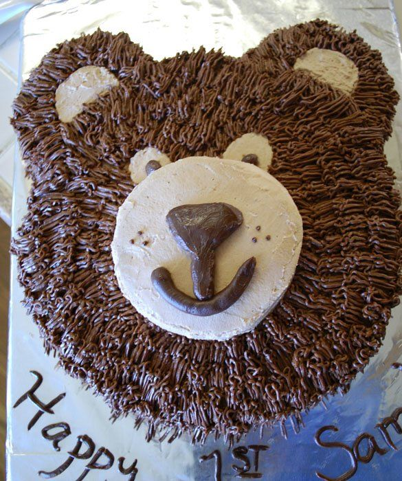Bear Cake. This cake is topped with chocolate ganache and mascarpone whipped cream.