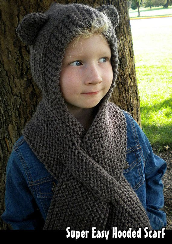 This is the perfect cold weather accessory... its guaranteed to keep heads and necks toasty warm. Pattern is super easy to follow, and versatile, too! This hooded scarf can be made with or without the ears, in any color (or color combo!). Wear it up, wear it down. Easy for kids to put on and take off, and its all 1 piece nothing gets lost!    This pattern does not require double pointed needles OR seaming! Its also a pretty quick knit, so you have lots of time to whip out a ton of them for…