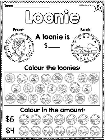 Canadian money worksheets and math centres for teaching Canadian coins (pennies, nickels, dimes, quarters, loonies, and toonies) as well as adding coins