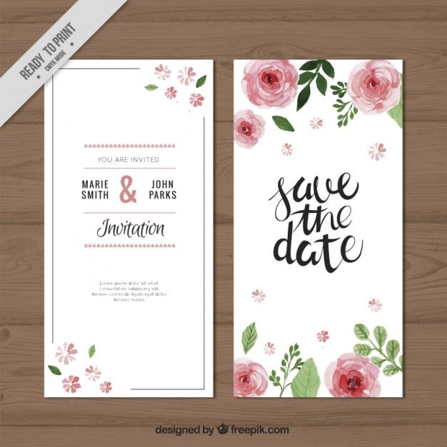 rosas de la acuarela de la invitación de la boda Vector Gratis