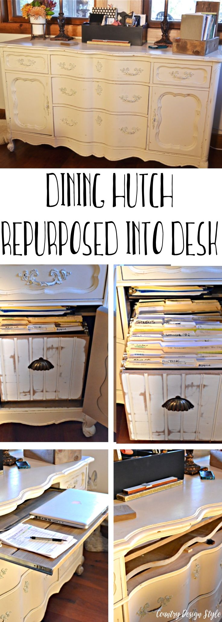 How I turned a unused dining hutch into a desk for blogging.    Country Design Style   countrydesignstyle.com #repurposedfurniture
