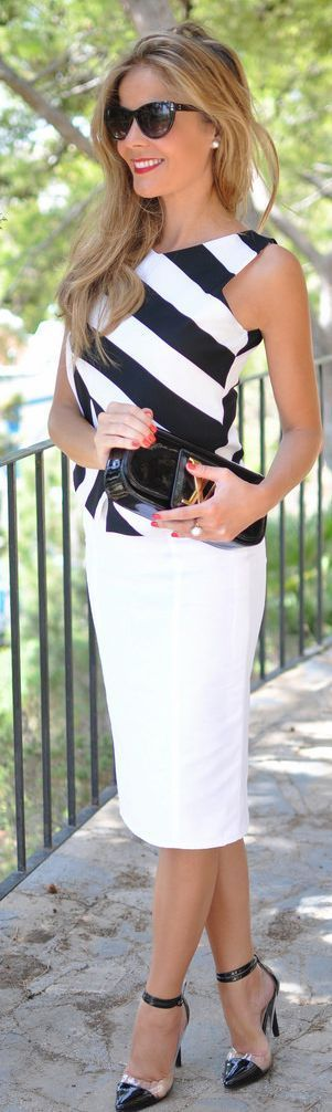 Spring 2015 Business Lady Looks and Outfit Ideas. Mid skirt, stripped blouse and Classical Heels.