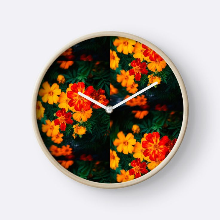 Colorful flowers by Silvia Ganora #wallclock #clock #flowers #floral #redbubble