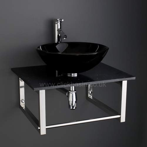 Black Glass Basin Wall Mounted Wide Black Marble Shelf And Mixer Tap