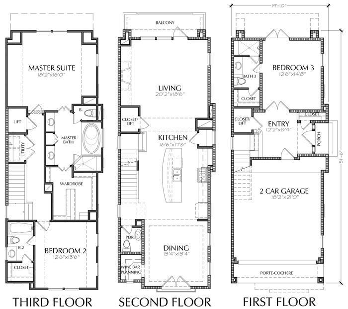 Three Story Townhouse Plan E1036 C1 1 Garage Floor Plans Apartment Floor Plans House Floor Plans