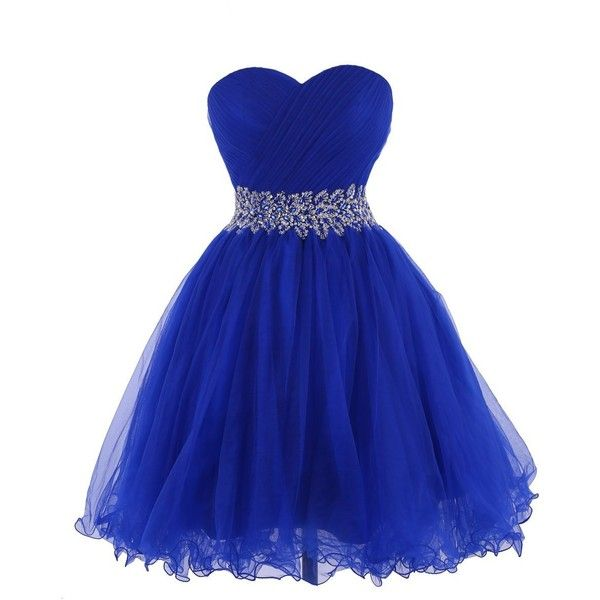 Tidetell 2015 Strapless Royal Blue Homecoming Beaded Short Prom... (£70) ❤ liked on Polyvore