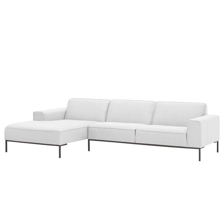Ecksofa Ampio II Webstoff   Longchair/Ottomane Davorstehend Links   Grau    Stoff Floreana Weiß