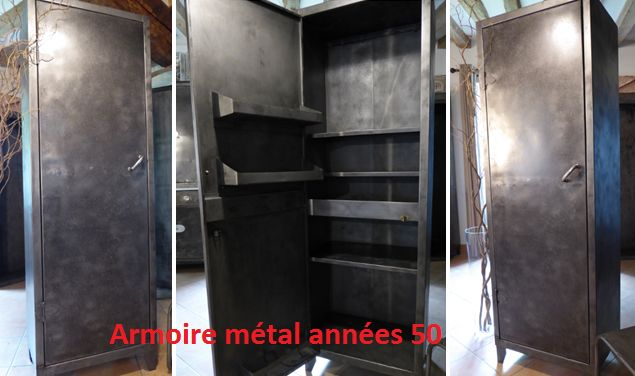 vous propose cette ancienne armoire m tal 1 porte meuble ann es 50 60. Black Bedroom Furniture Sets. Home Design Ideas