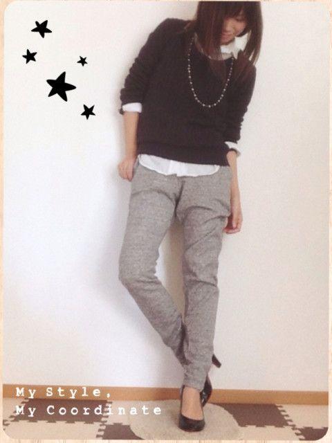 スウェットパンツ, ユニクロ, ニットのファッションコーディネート(ainaさん) 1610508 | ファッション検索のコーデスナップ