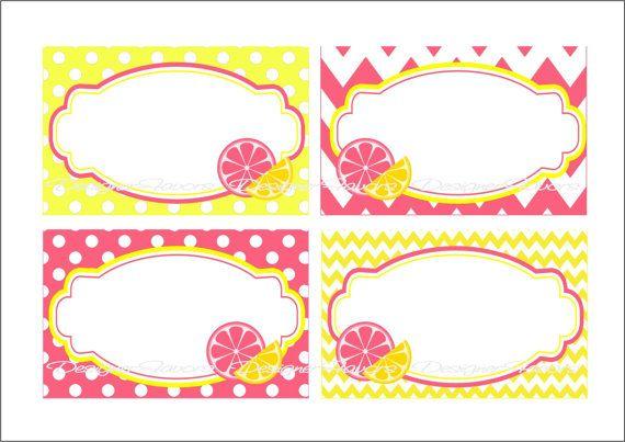 Pink Lemonade Printable Table Tents  Buy 2 Get 1 by designerfavors, $4.00