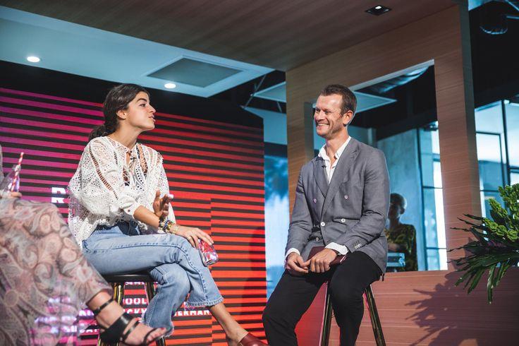 Leandra Medine with Damien Woolnough from ELLE Australia