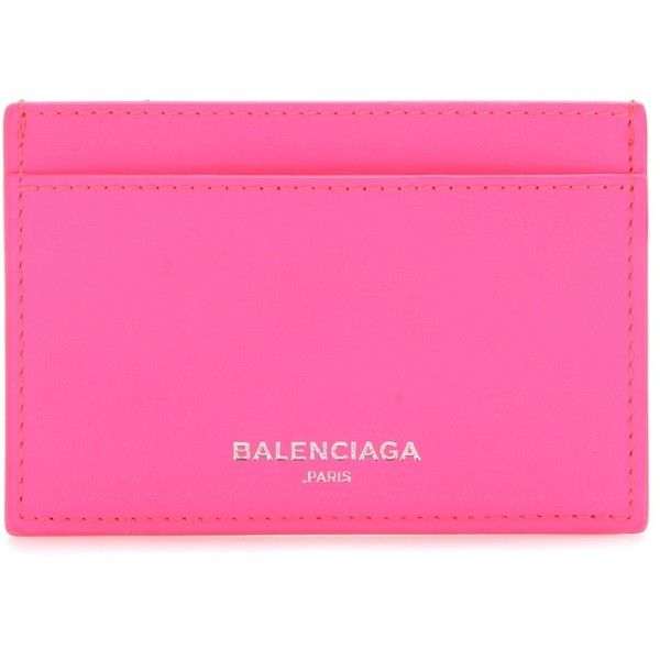 Balenciaga Leather Card Holder ($215) ❤ liked on Polyvore featuring bags, wallets, pink, wallets & cases, leather card case wallet, real leather wallets, balenciaga, pink bag and card carrier wallet