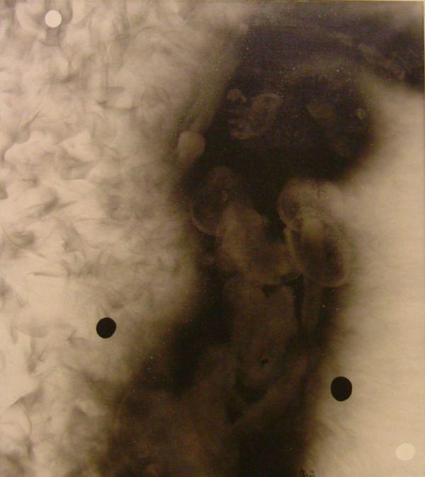 Szirtes János: 92/46, 1992, 80 x 90 cm, vegyes technika, vászon / mixed technique on canvas
