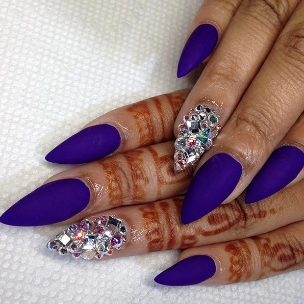 Matte Purple + Rhinestones Stiletto Nails