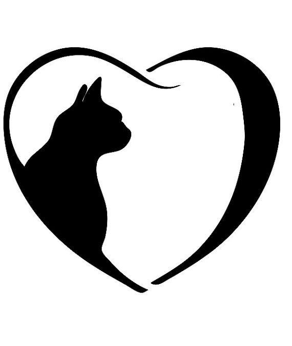Book folding pattern of Cat inside heart. FREE by BookArtCo