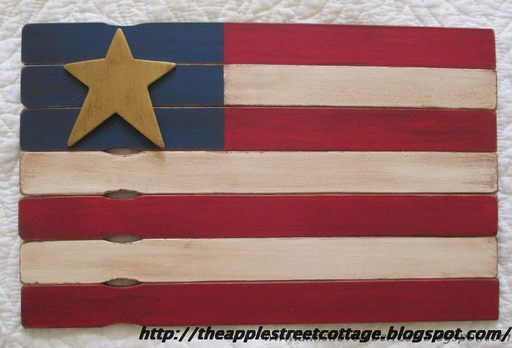 """Paint Stirrer Flag - Happy 4th of July! Here is a little """"how-to"""" that uses paint stirrers to make this adorable flag. Let's get started... F"""