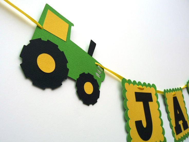 Tractor Birthday Party Name Banner - Farm Green Tractor Birthday Garland - Farm Bash Baby Shower - 1st to Adult Birthday Name Sign Flags by EMTsweeetie on Etsy https://www.etsy.com/transaction/1062727656