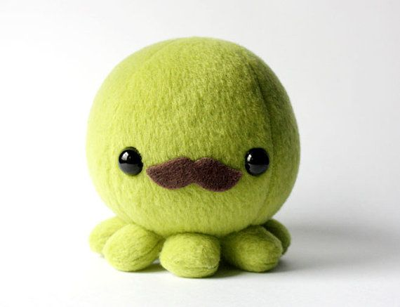 Green Octopus Plush Toy With Moustache By Cheekandstitch