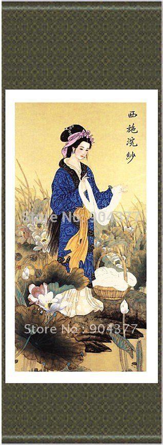 Silk Scroll Art Decorative Beautiful Chinese Girls Paintings  size L 40 x W12 inch  1piece Free shipping