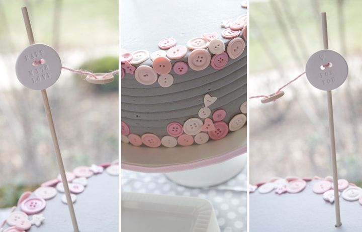 button cake with ceramic button bunting
