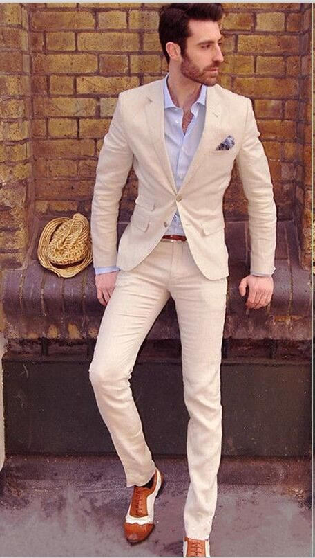 Latest Coat Pant Designs Champagne Linen Wedding Suits For Men Slim Fit  Skinny Casual Beach Tuxedo 117ae0fcb84a