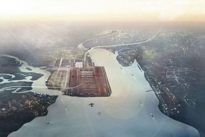 Immagine dall'alto del futuro Thames Hub Airport, #aeroporto di #Londra su progetto di #Norman #Foster