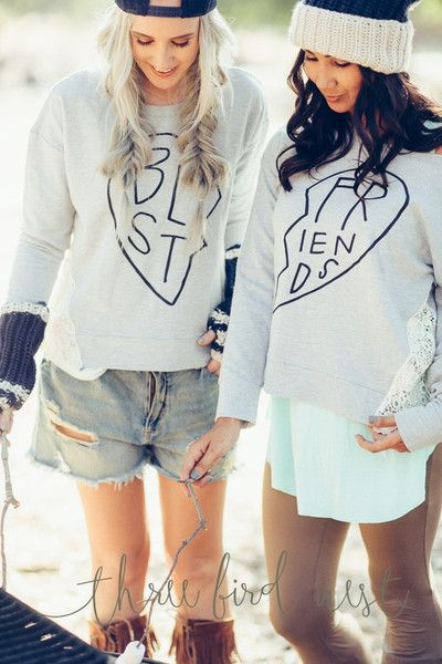 Best friends shirts for you & your BFF. Shop matching BFF sweatshirts, tops & tanks. Perfect unique birthday or Christmas gifts for your bestie from 3BN.