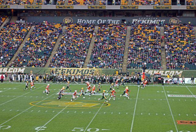 The Edmonton Eskimos Playing at Commonwealth Stadium