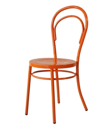 Orange powder-coated Thonet-style chair. Perfect at a mini Parsons desk.