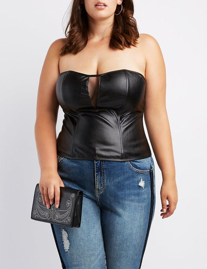 842d1197383 Sexy Plus Size Faux Leather Strapless Bustier