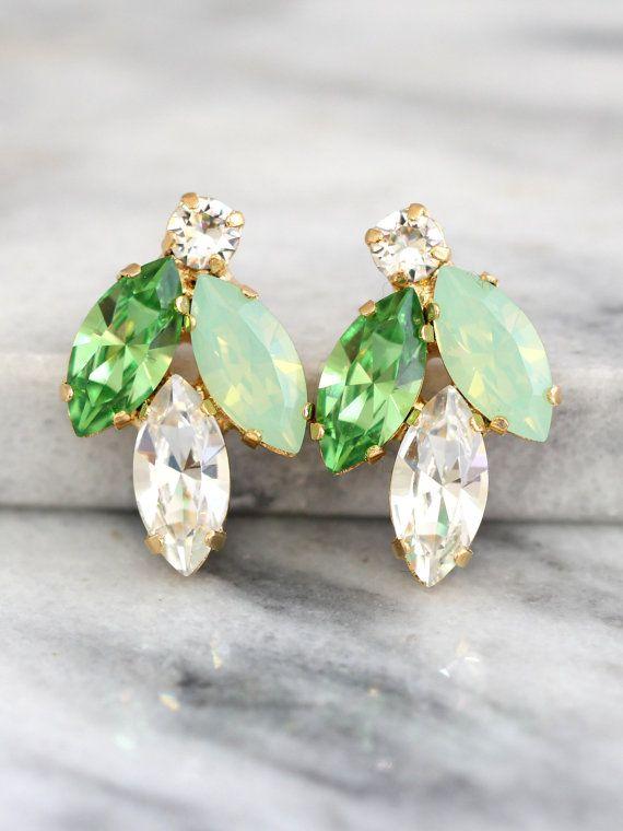 Minze-Ohrringe Swarovski Bridal Mint Ohrringe Ohrringe von iloniti