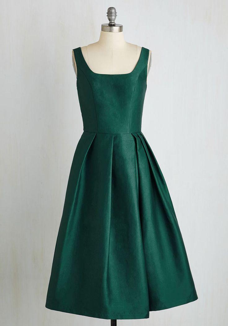 Green Tank Neck Handmade Sleeveless Tea Length A-Line Taffeta Bridesmaid Dress