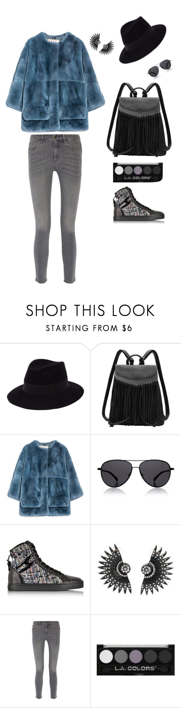 """'Pelliccia Colorata rigorosamente ecologica!'"" by loredanacossu on Polyvore featuring Maison Michel, Marni, The Row, Hogan Rebel and MiH Jeans"