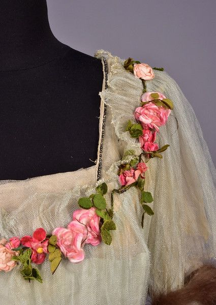 "historicaldress: "" LEONARD & O'NEIL GOWN with SILK FLOWERS, EARLY 20th C. Pale blue silk charmeuse having short sleeve tulle bodice overlay and overskirt decorated with pink and green silk flowers,..."