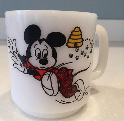 Vintage Mickey Mouse Club Mug Bee Beehive Design Milk Glass Made by Libbey. Disney