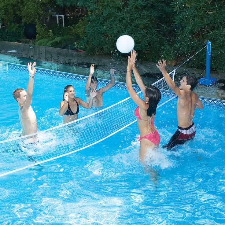 Swimline cross pool volleyball game for in ground swimming for Obi easy pool