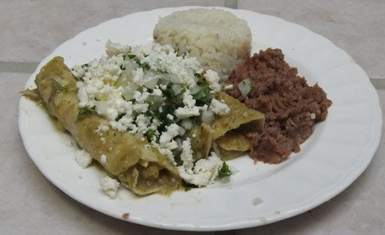 Enchiladas verdes- these are authentic. I made them and they came out great.