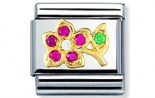 Nomination stainless steel with 18ct gold and Cubic Zirconia Red and white flower Classic Charm