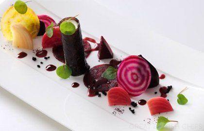 GOAT'S CHEESE, ROASTED BEETROOT AND A BLACK OLIVE TUILE RECIPE - ALAN MURCHISON