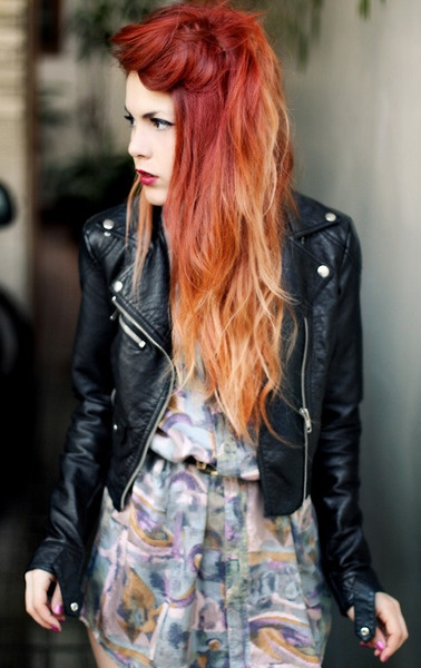 love her hair wonder if i can do this with my short hair- espesh with the bright red in the front and the blond to the back