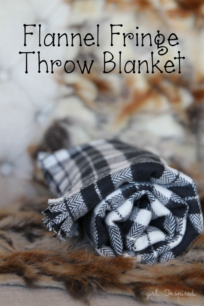 Make a cozy Flannel Fringe Blanket - so simple, you could even make this no-sew!   Flannel blanket from @girlinspired
